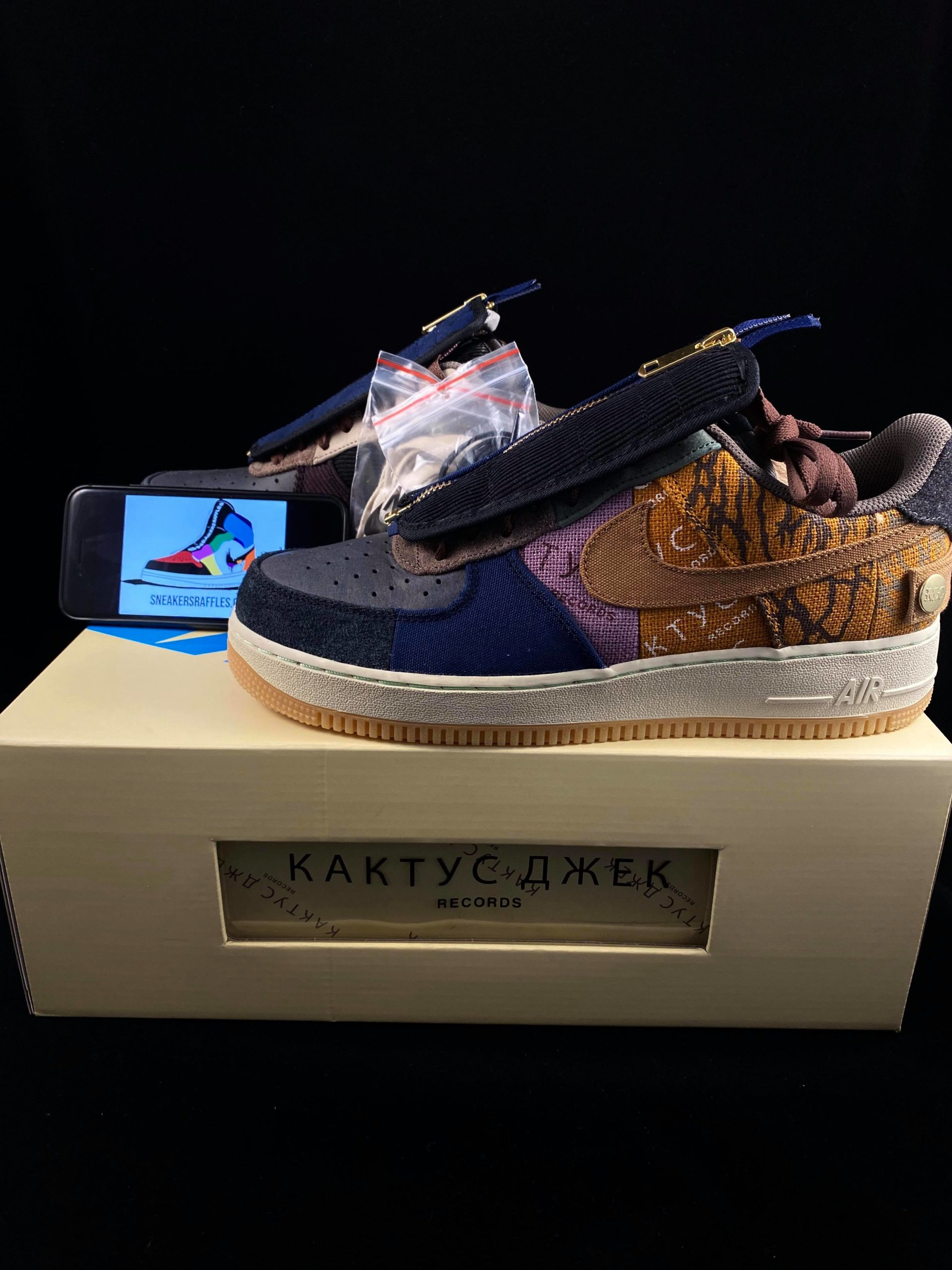win nike travis scott af 1 sneakers competition shoe placed on box