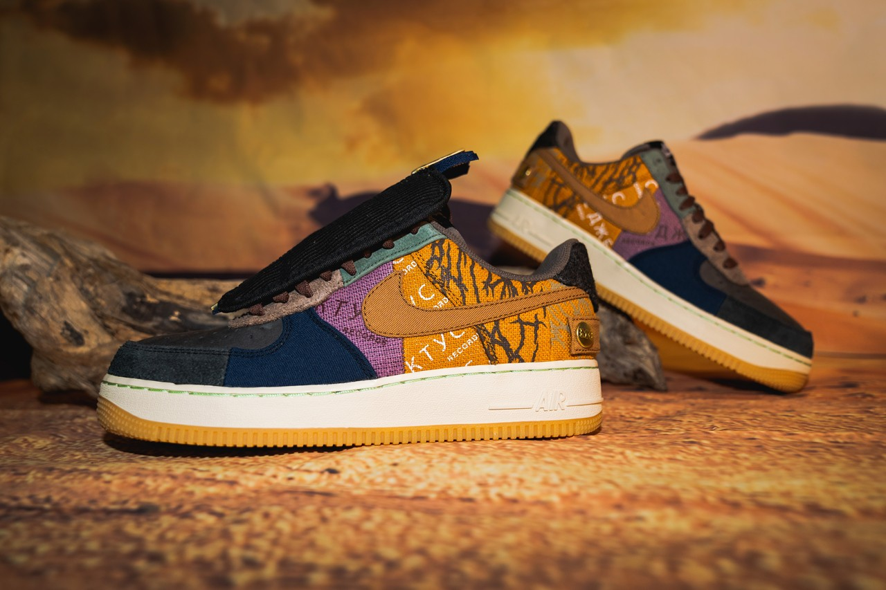 A Pair of Travis Scott x Nike Air Force 1 Low Cactus Jack Sneakers